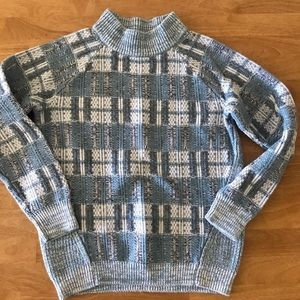 Chunky Knit Women's S Blue White Gray Sweater